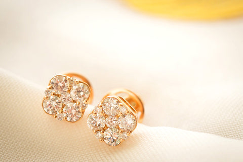 Earrings Diamond Cushion Cluster
