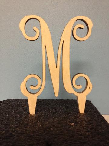 Single Initial<br /> Unfinished<br />Cake Topper