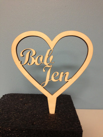 Heart Cake Topper with Names - Unfinished