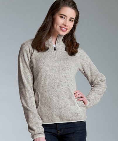 1/4-Zip Women's Heathered Fleece Pullover by Charles River Apparel<br />4 Colors Available