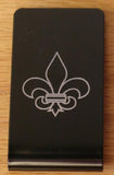 Fleur de Lis Black Anodized Aluminum Money Clip