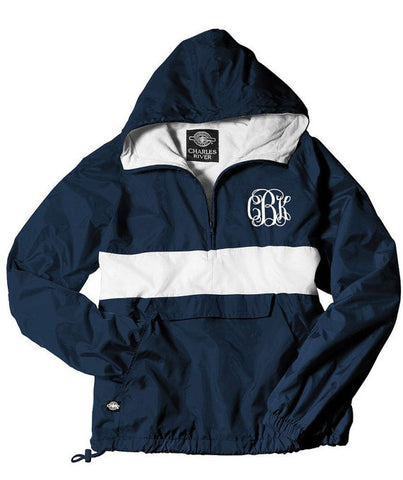 Personalized Rain Jacket<br />1/4-Zip <br /> Striped Pullover<br /> by Charles River<br />10 Colors Available