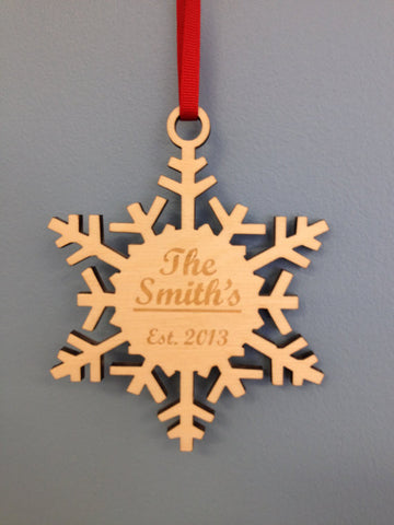 "4"" Personalized Snowflake Ornament - Unfinished"