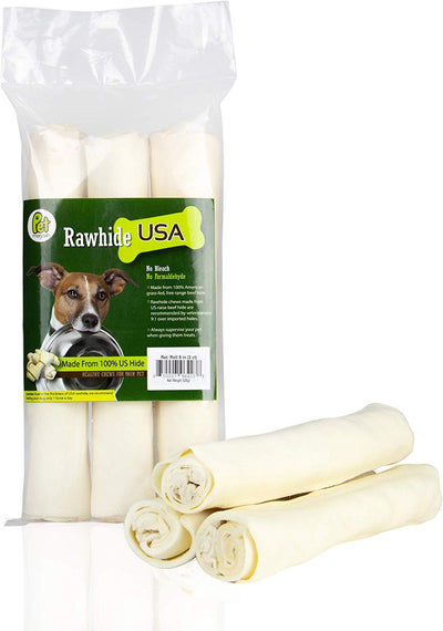 Rawhide Large Thick Rolls 9 to 10 inches Long-Lasting Chew Treat Toy for Medium and Large Dogs, FDA & USDA Approved