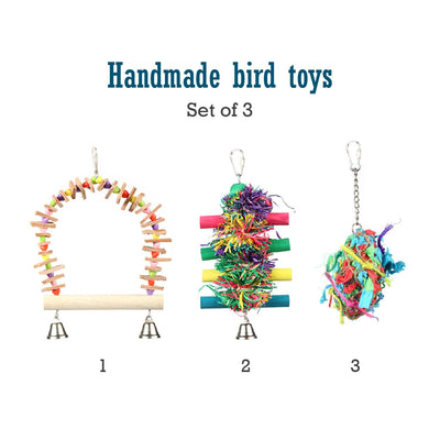 Set of Three Colorful Bird Toys-Pet Magasin