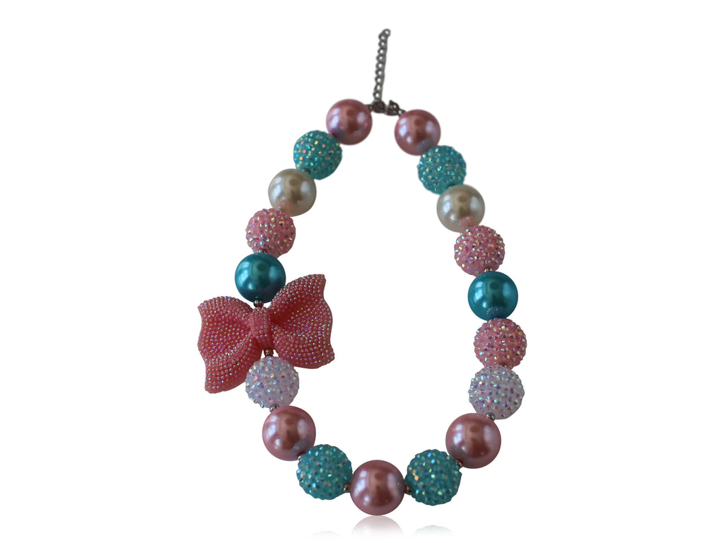 Candy Beaded Bow Necklace - Desert Roses