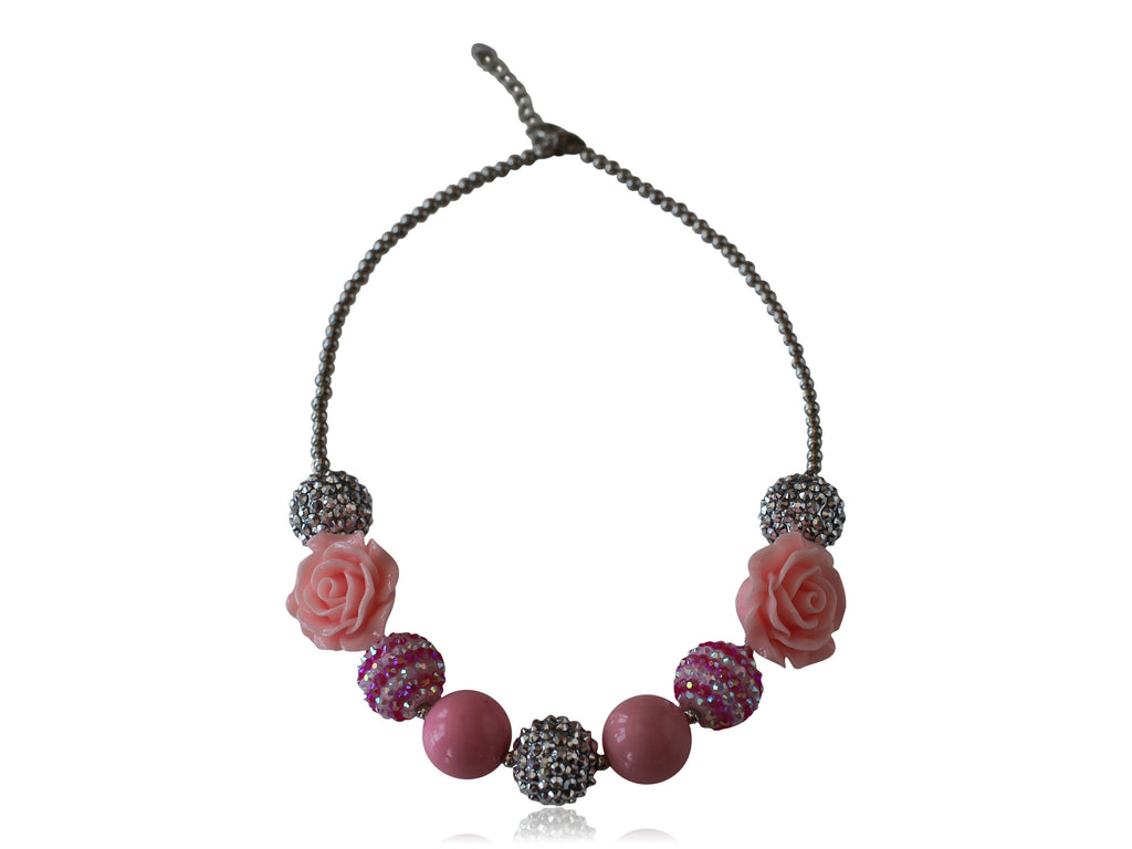 Mini Pink Rose and Silver Sparkle Necklace - Desert Roses