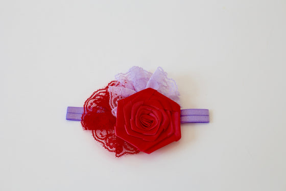 Lace Flower and Rolled Rosette headband - Lilac & Red - Desert Roses