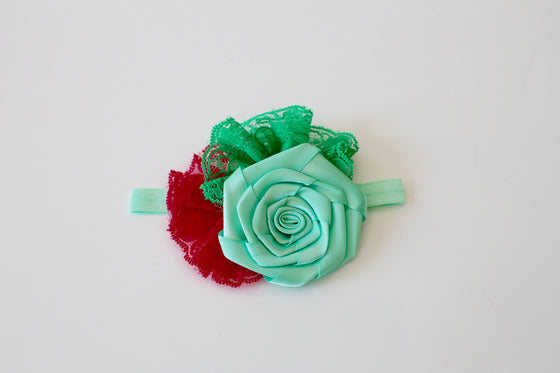Lace Flower and Rolled Rosette headband - Mint & Red - Desert Roses