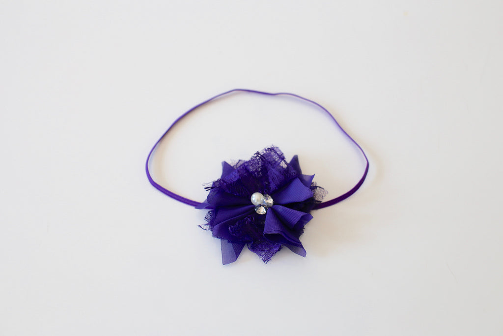 Petite Princess Flower Headband - Purple - Desert Roses