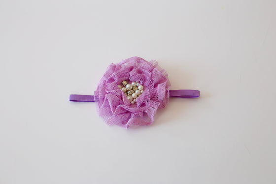 Isabella Lace Flower Headband - Lilac - Desert Roses