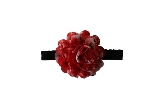 Chiffon & Lace Flower Headband - Red Rose Floral