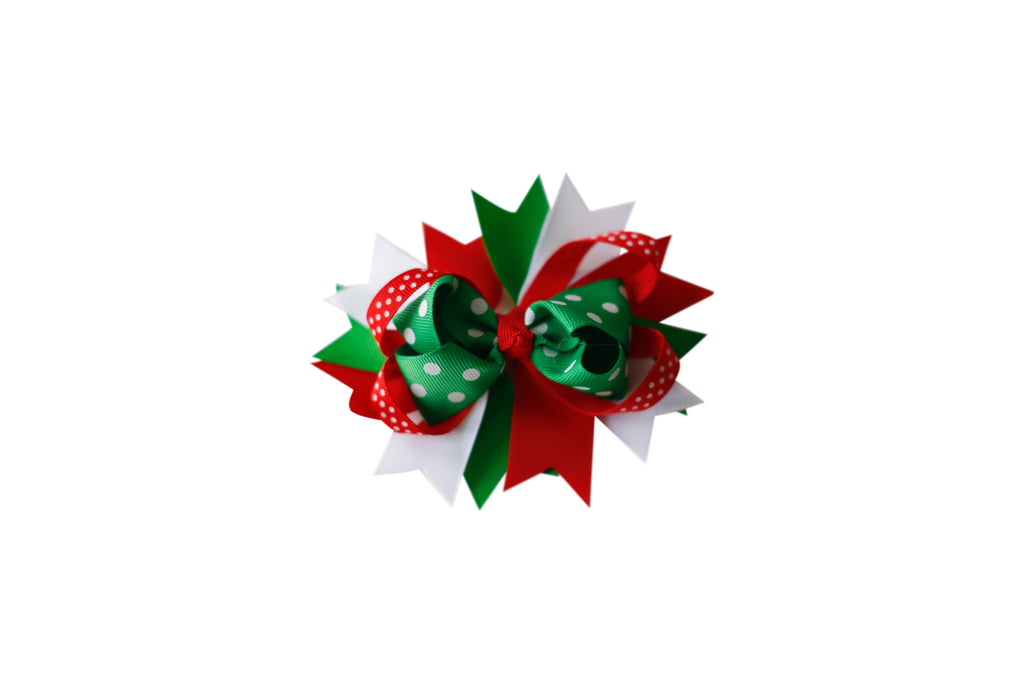 Red & Green Polkadot Boutique Bow