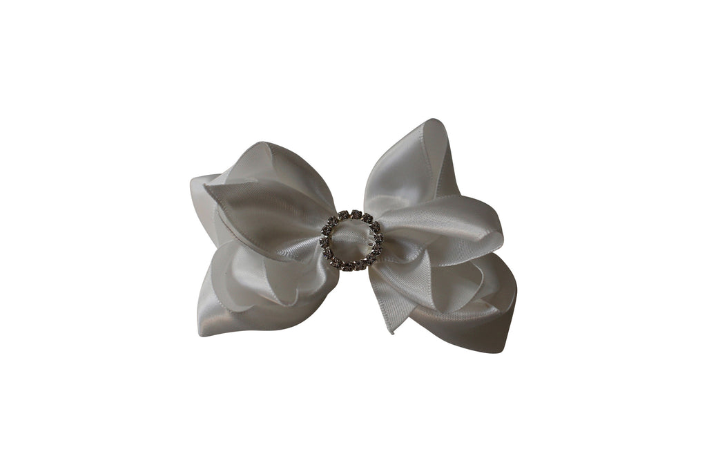 Off white Satin Rhinestone Bow