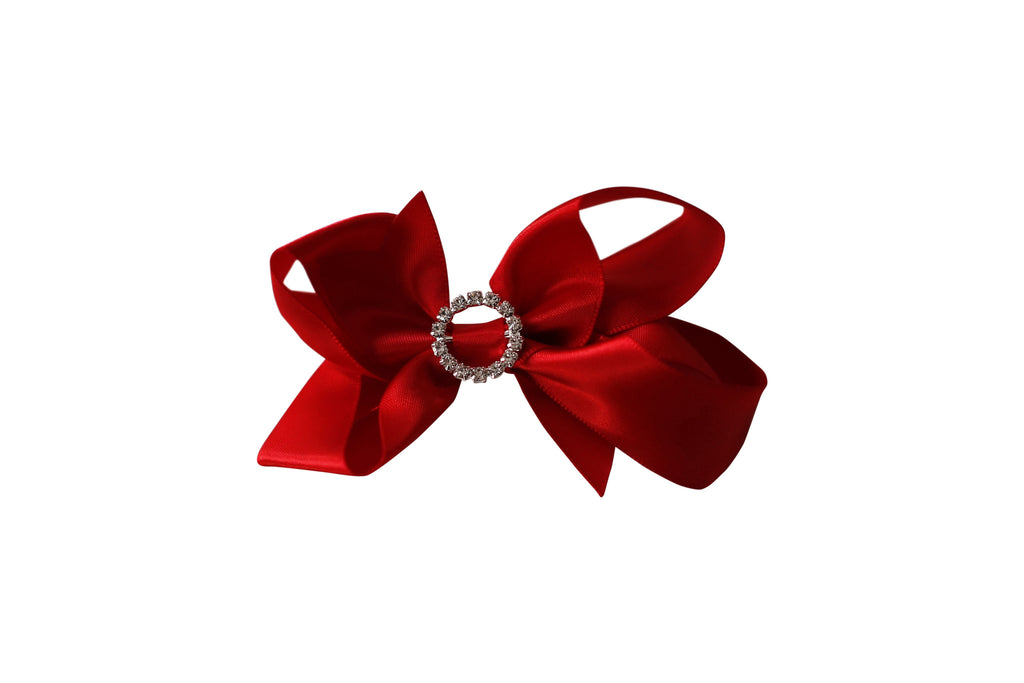Red Satin Rhinestone Bow