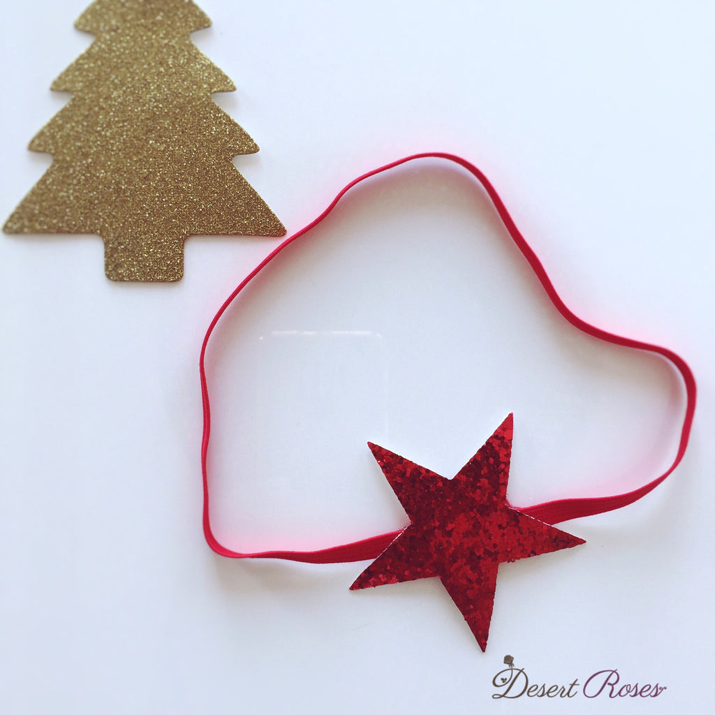 Glitter Star Headband Red - Desert Roses