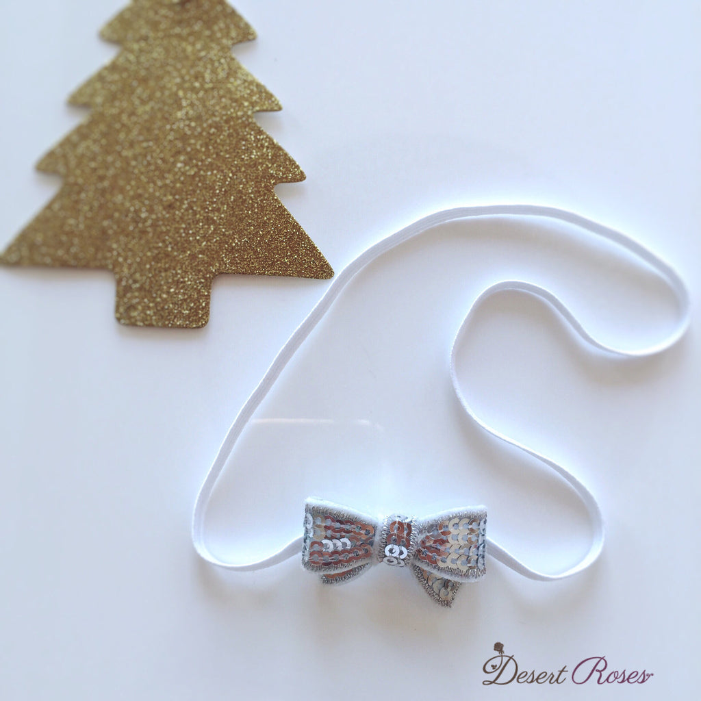 Silver Itty Bitty Sequin Bow Headband - Desert Roses