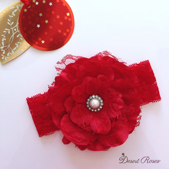 Lace Peonie Headband - Red - Desert Roses