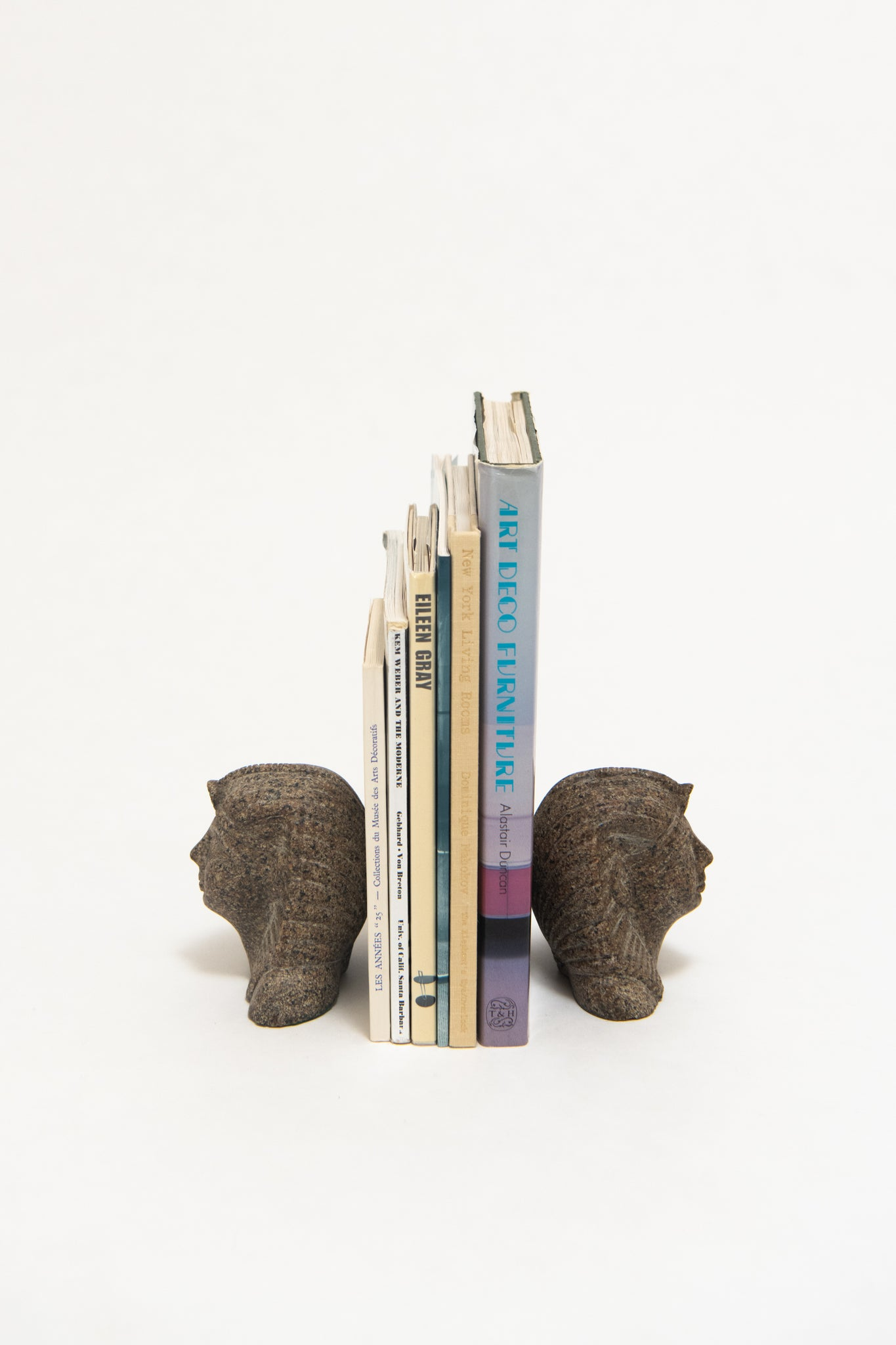 FRENCH, CARVED EGYPTIAN BOOKENDS, C. 1950