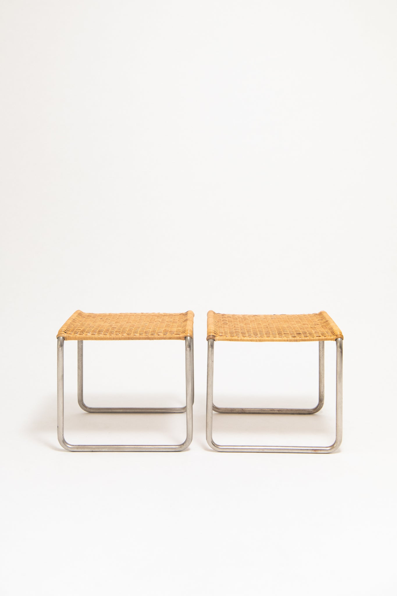 LUDWIG MIES VAN DER ROHE & LILLY REICH, PAIR OF MR1 STOOLS, C. 1927