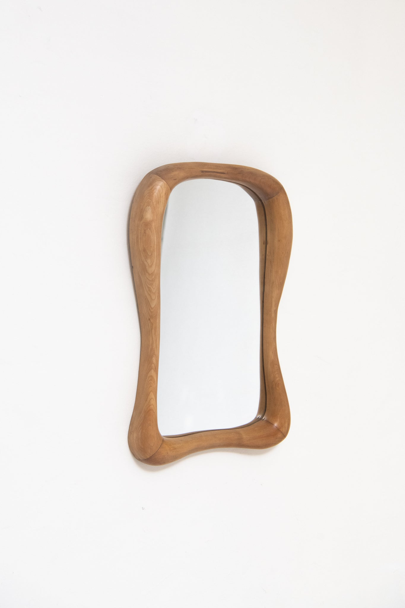 SWISS, SMOOTH CARVED ANTHROPOSOPHIC MIRROR, C. 1930
