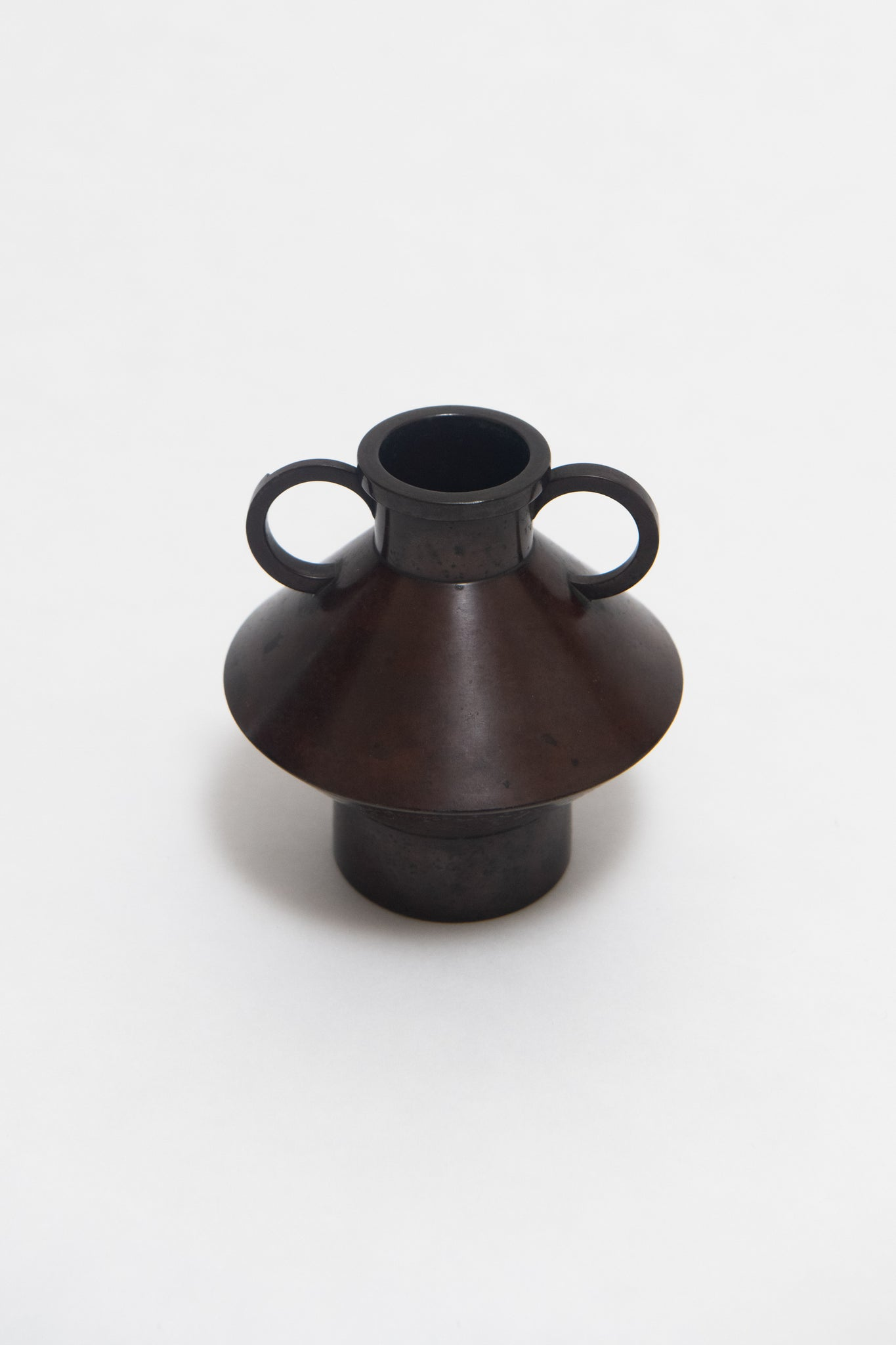 JAPANESE, BRONZE VASE WITH HANDLES, C. 1950