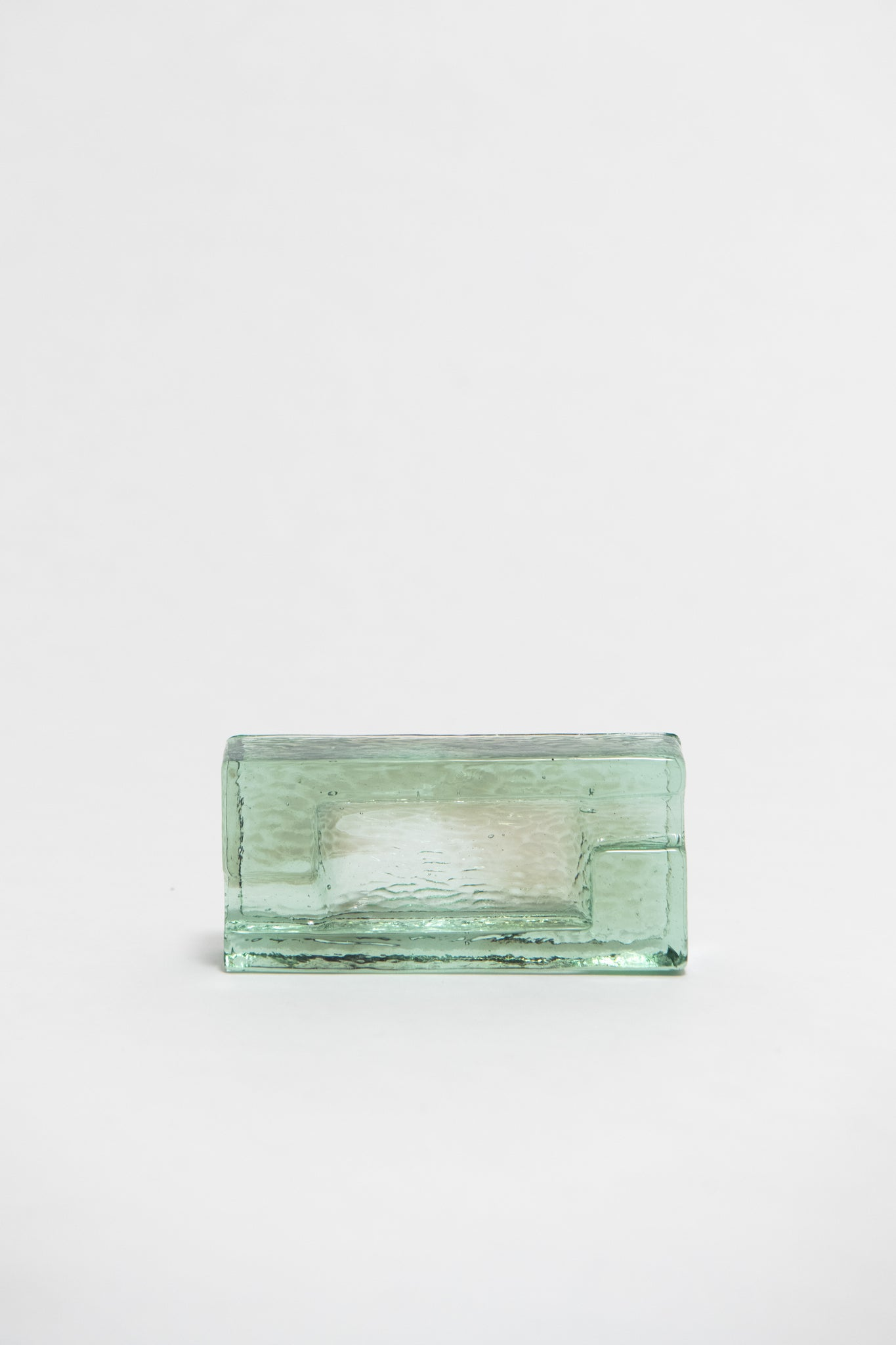 FRENCH, ART DECO GREEN GLASS ASHTRAY, C. 1930