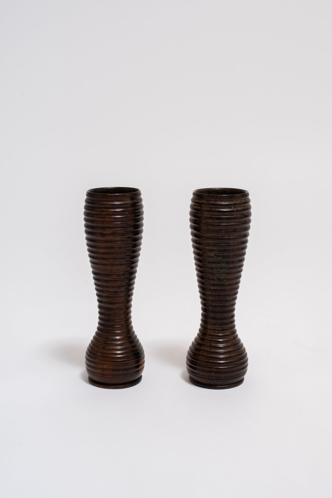 PAIR OF TURNED WOOD VASES, C. EARLY 20TH CENTURY