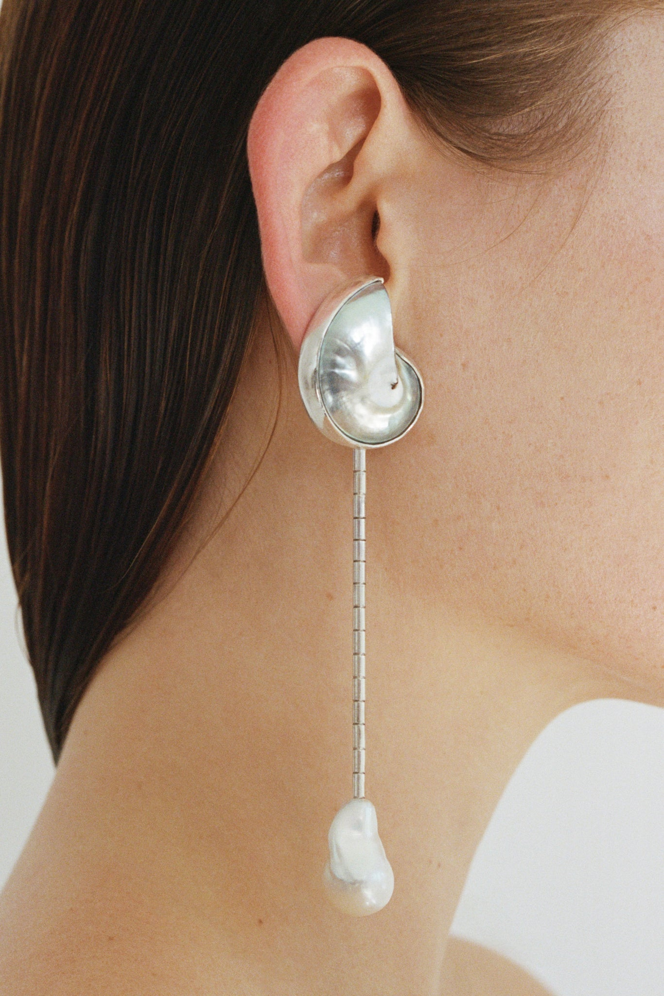 SHELL & PEARL DROP EARRINGS