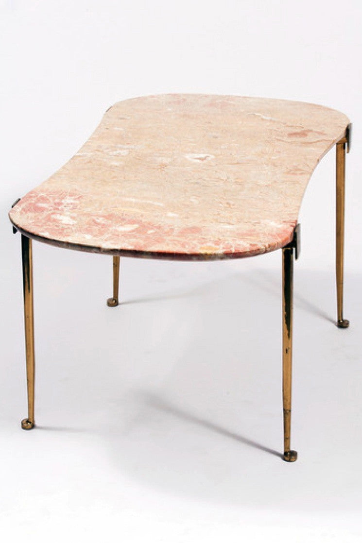 PATRICK PARRISH GALLERY - MARBLE AND BRASS TABLE