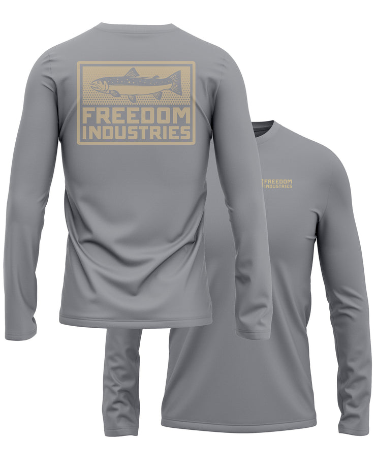 TROUT PLUS LONG SLEEVE TEE - STORM - FREEDOM INDUSTRIES (4479128731720) (4479135383624)