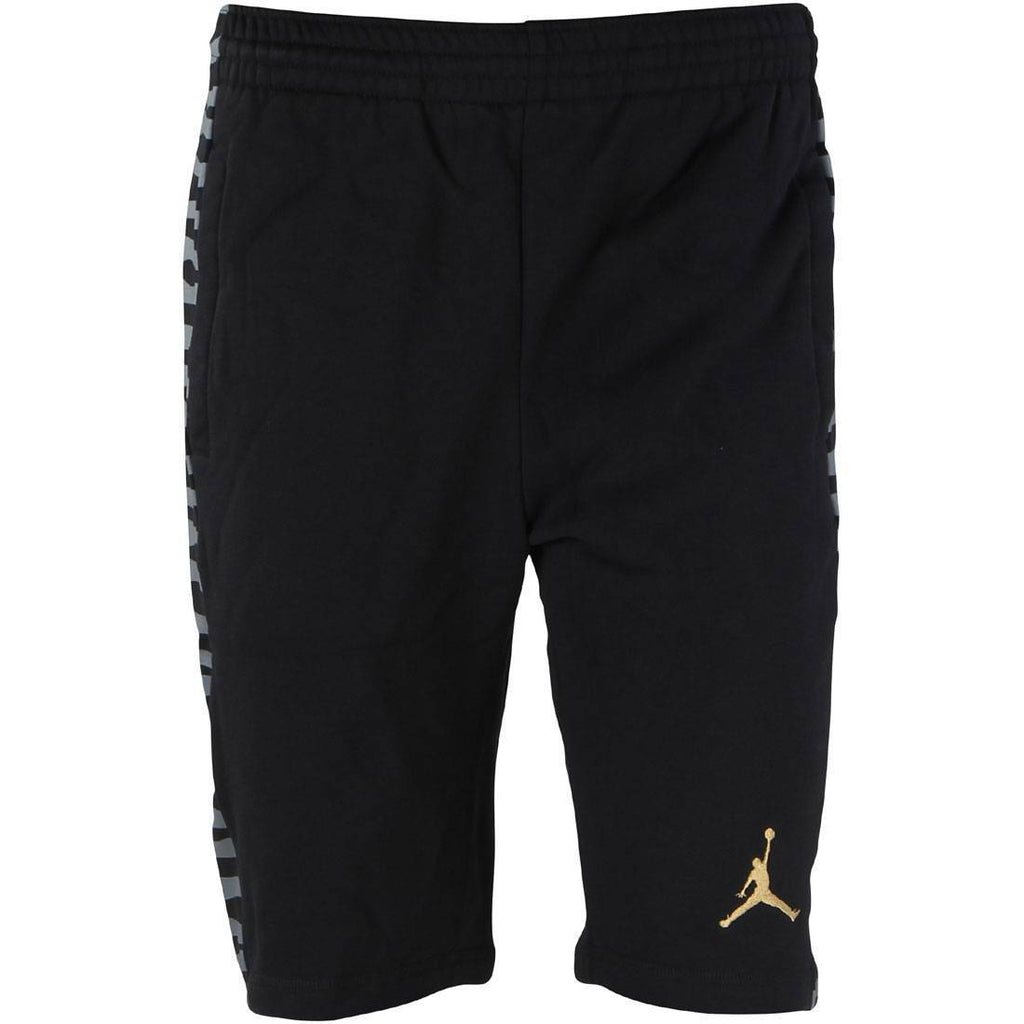 "Men's Jordan Sweat Shorts Fleece Retro 10 ""Black/Gold"" 820145 016"