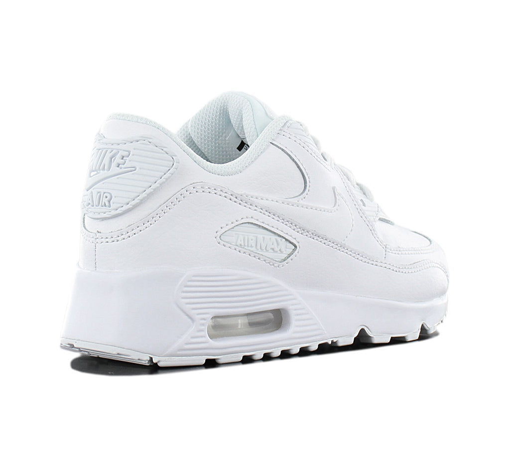 "Pre School Size Nike Air Max 90 Leather ""Triple White"" 833414 100"