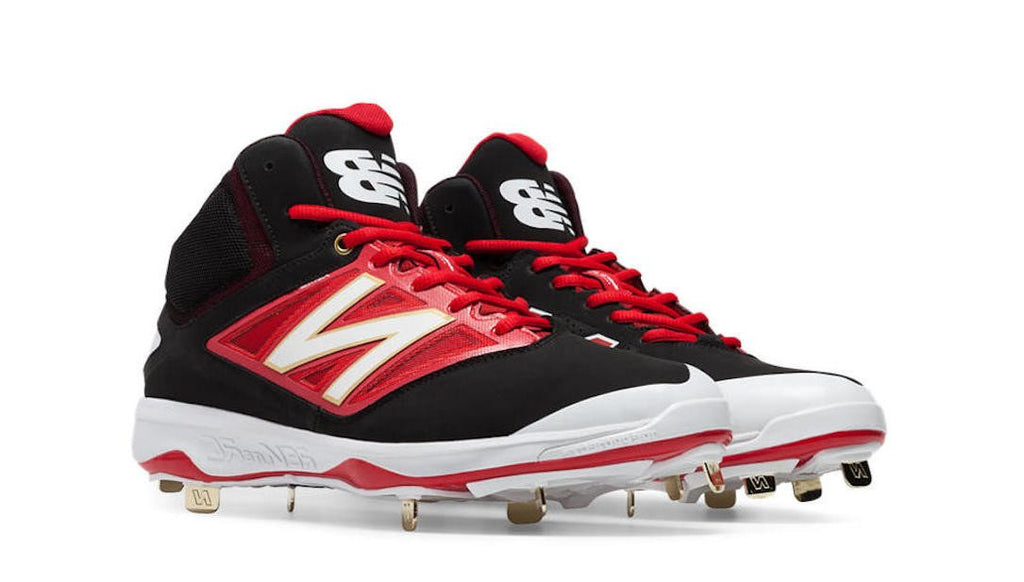 Men's New Balance High Top Metal Baseball Cleats M4040BR3 Black/Red/White
