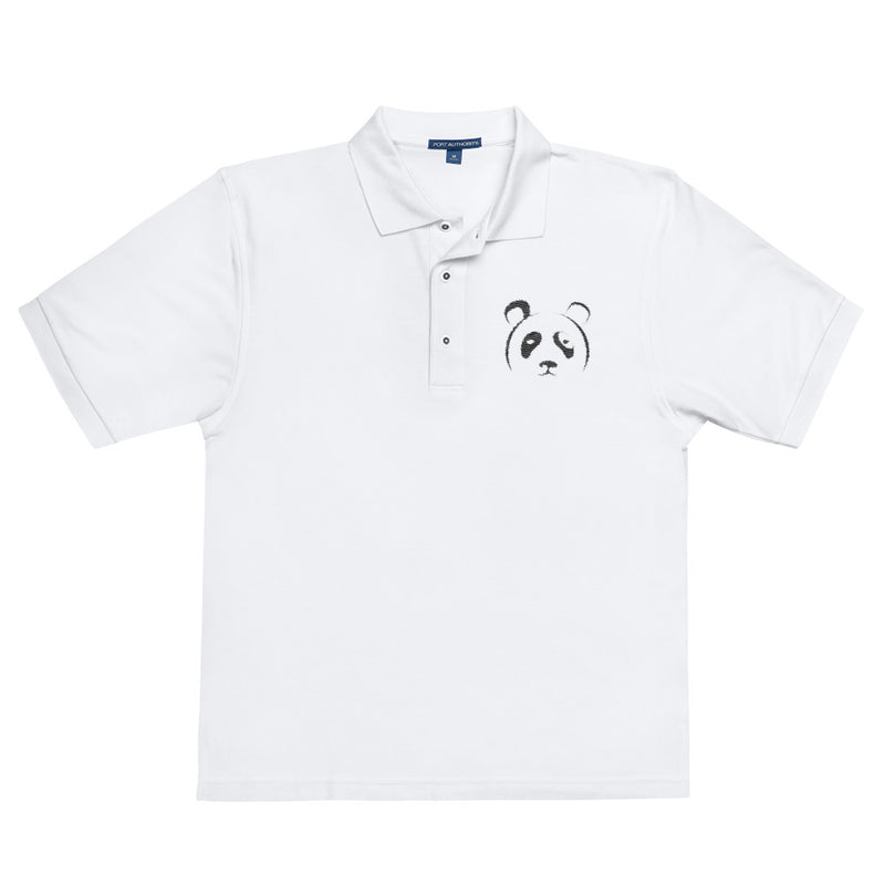 White Panda Embroidered Polo Shirt