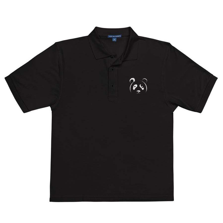 Panda Black Embroidered Polo Shirt