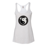 Womens White Tank With Double Sided Yin and Yang Panda Logo