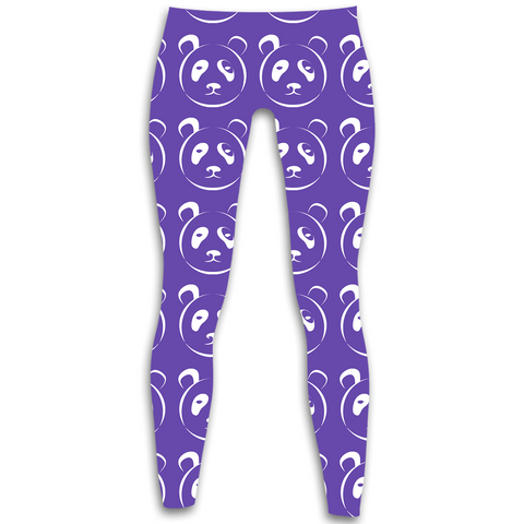 Purple and White Panda Leggings