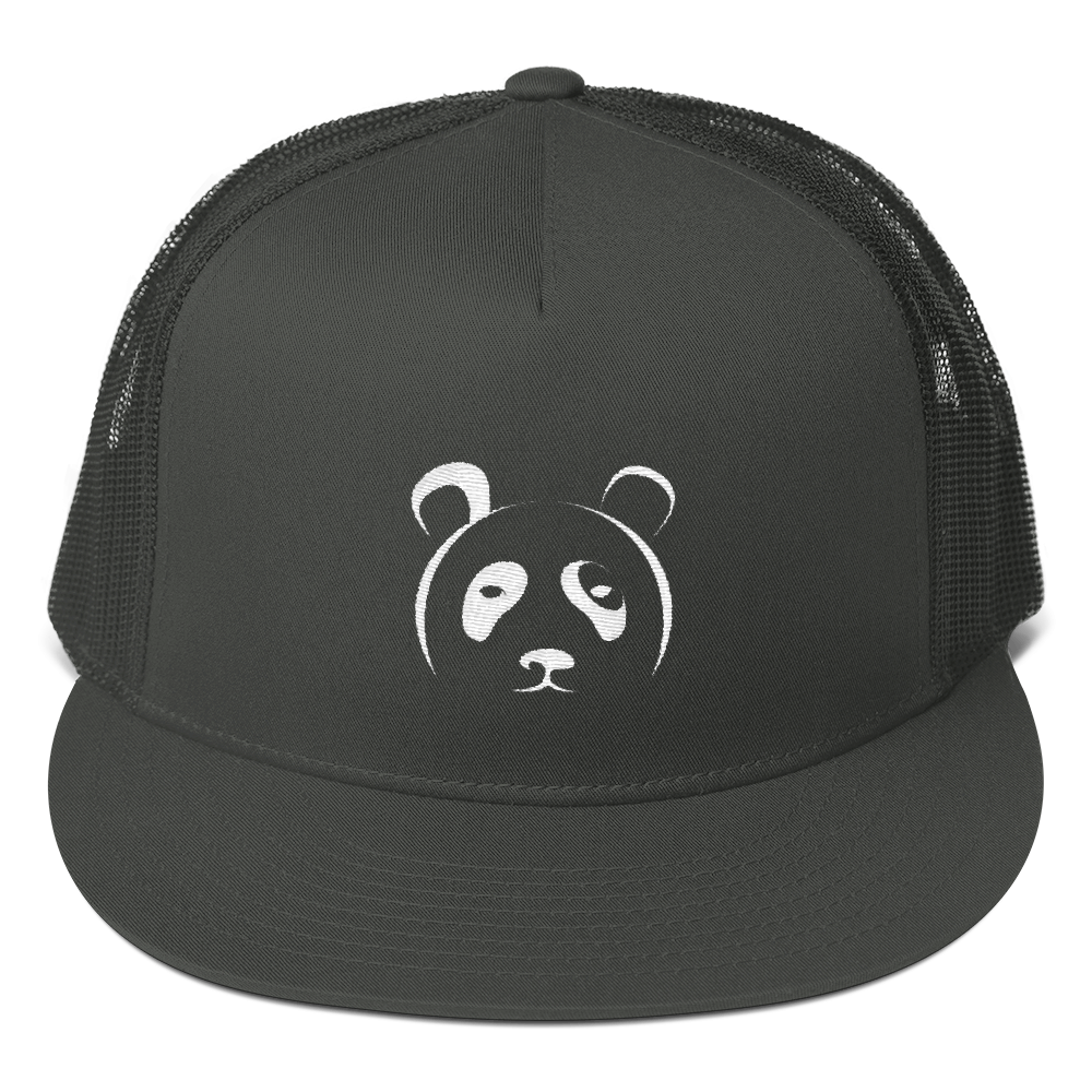 Black Panda Trucker Hat (Embroidered)