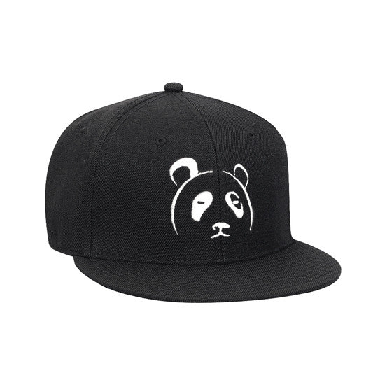 Black Panda Snapback Hat (Embroidered)