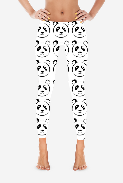 White and Black Panda Leggings