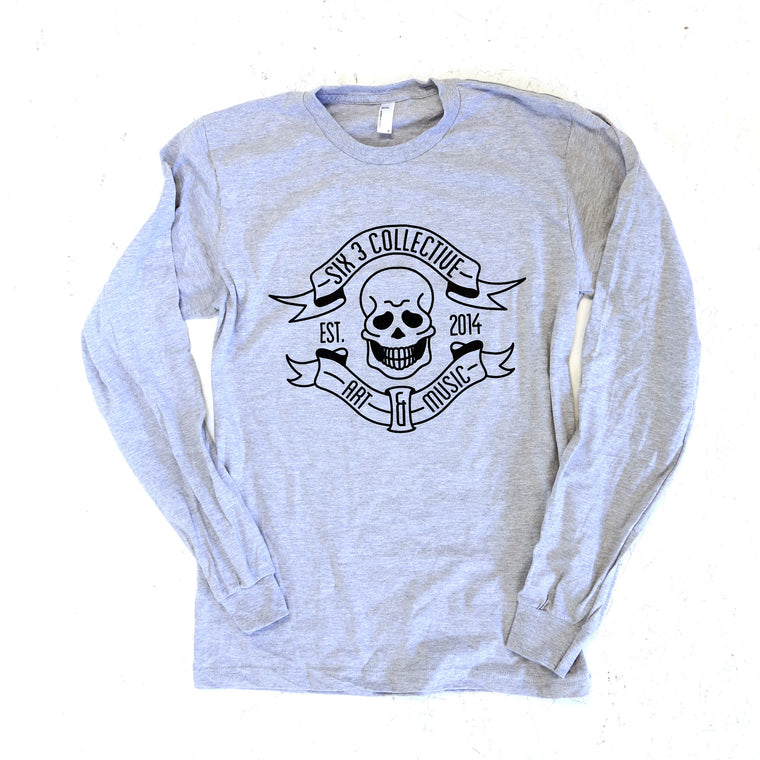 SIX 3 COLLECTIVE Classic Logo Heather Grey Long Sleeve Shirt