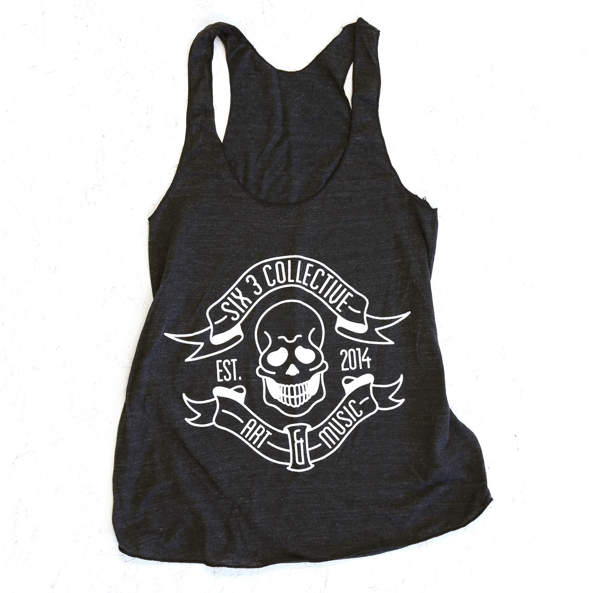SIX 3 COLLECTIVE Classic Logo Womens Black Racerback Tank
