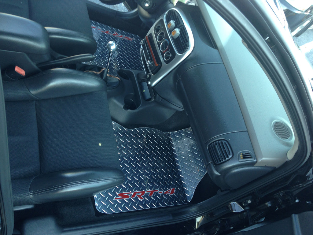 Neon SRT-4 Diamond plate Metal floor mats Polished finish front rear