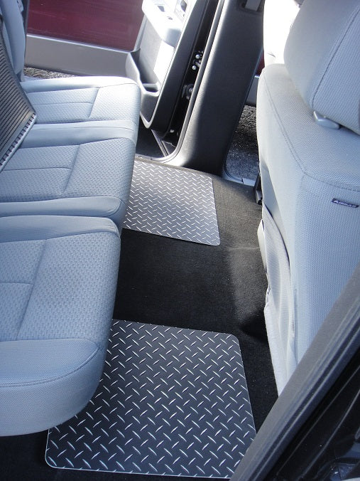 Ford F-150 09-14  Black metal diamond aluminum  floor mats