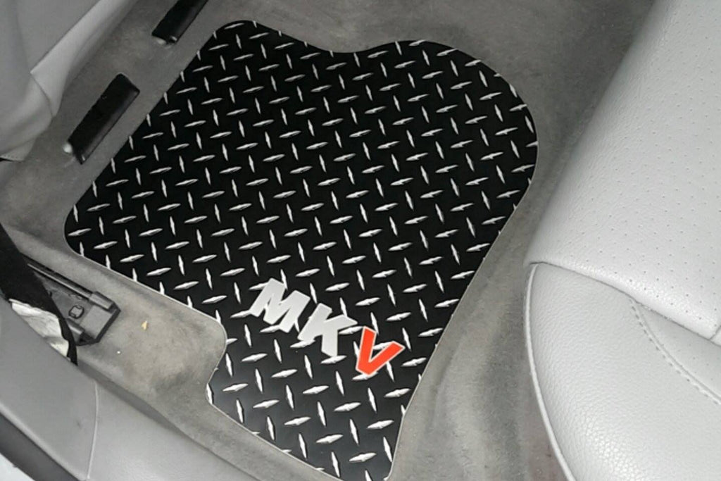 VW Golf GTI  (MK5) 05-09 BLACK Metal diamond tread plate floor mats Front set
