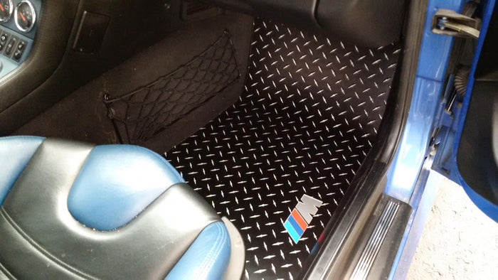 BMW Z3M Z3 Roadster & Coupe  95-03  Black  diamond plate aluminum  floor mats.