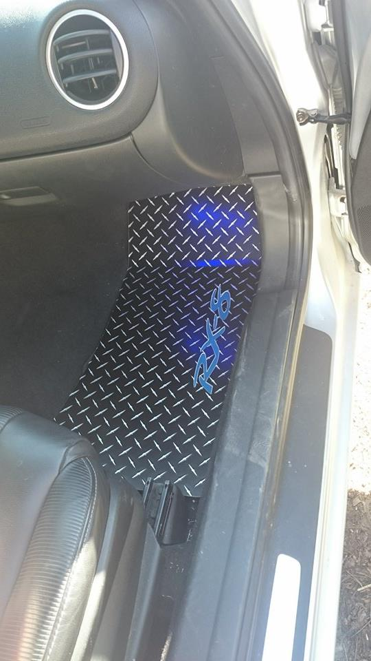 Mazda RX-8 Black METAL diamond floor mats.  Real aluminum front set