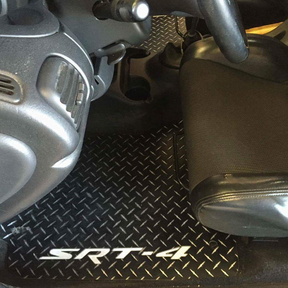 Neon SRT-4 99-05 Aluminum floor mats.  Black powder coated Metal diamonds front + rear