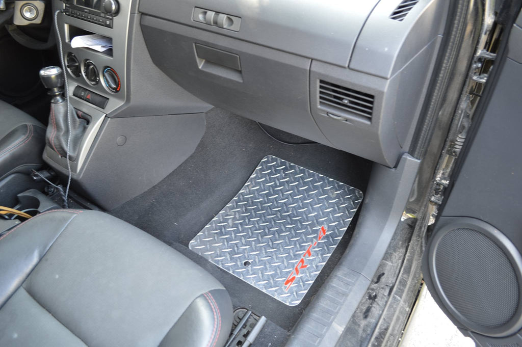 Caliber SRT-4 07-12 diamond plate metal floor mats Polished finish front rear